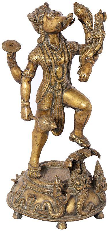 Bhagawan Varaha with Bhudevi (Dhokra Art)