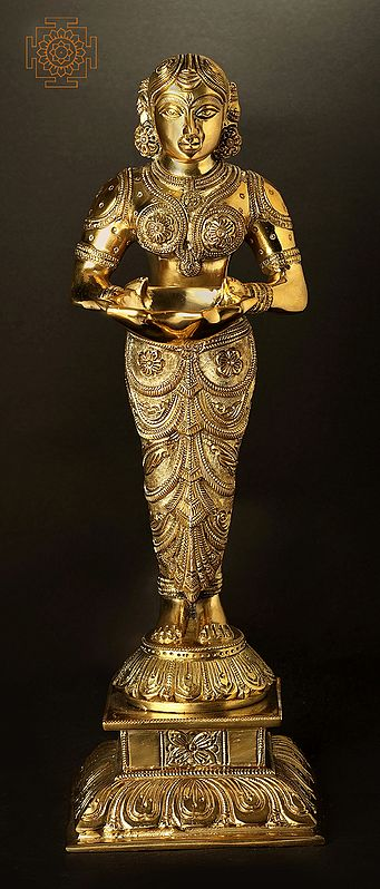 Superfine Exclusively Carved Deepalakshmi