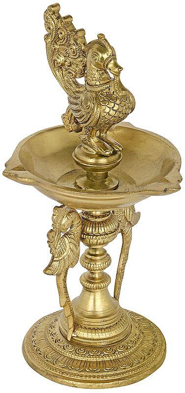 Three Wicks Peacock Lamp (Annam Lamp)