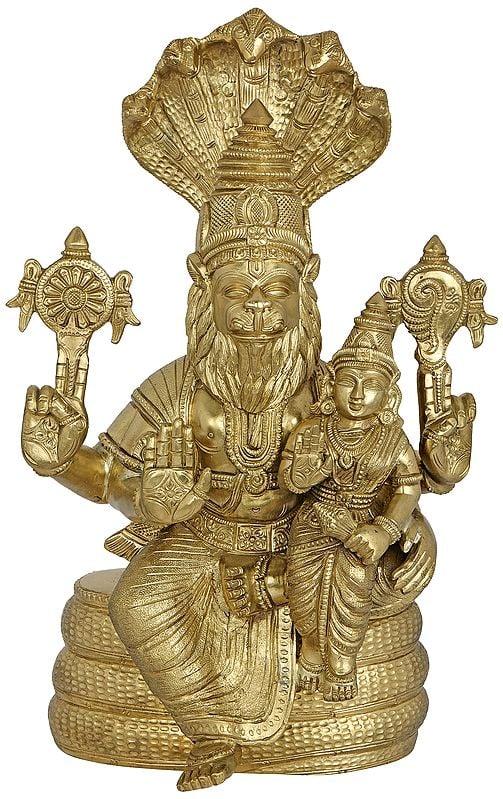 Bhagawan Narasimha (The Fourth Avatar of Vishnu) with Devi Lakshmi Seated on Sheshanaga - Hoysala Art
