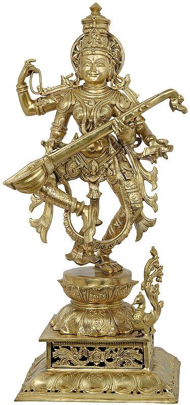 Devi Sarasvati Dances To The Music Of Her Veena