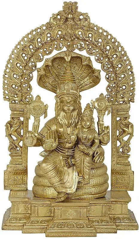 Lord Narasimha with Goddess Lakshmi on a stylized Kirtimukha Throne (Hoysala Art)