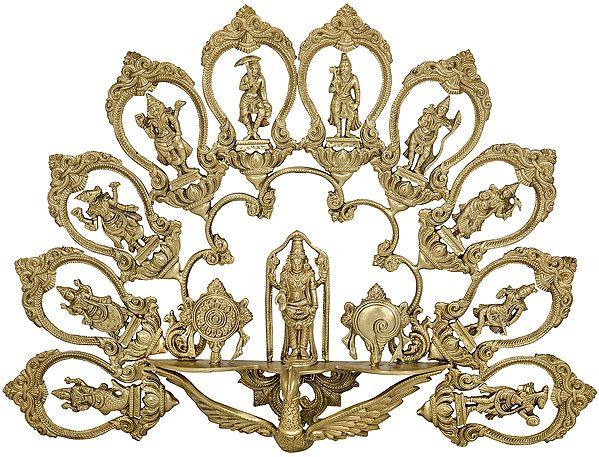 Lord Venkateshwara with Vaishnava Symbols and Showing Dashavatara on Flying Garuda - Wall Hanging (Hoysala Art)