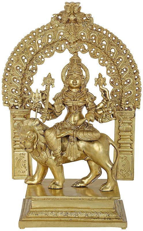 Ashtabhujadhari Devi Durga Seated Under A Striking Aureole
