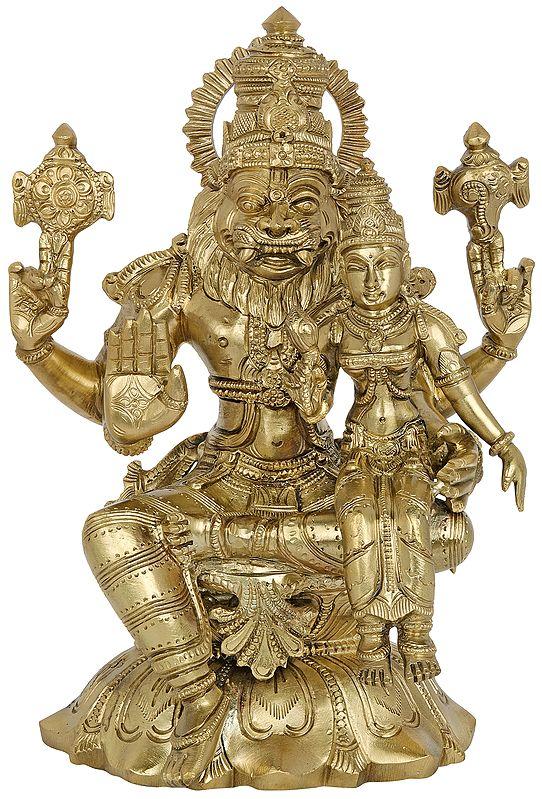 Superfine Lord Narasimha with Goddess Lakshmi (Hoysala Art)