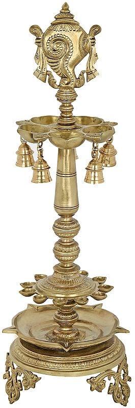 Vaishnava Symbol (Conch) Multi Wick Lamp with Bells- Hoysala Art