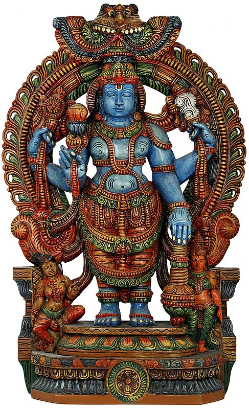 Azure-Skinned Standing Lord Vishnu, With Bhoodevi And Shridevi Seated At His Feet