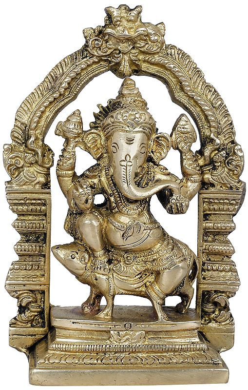 Lord Ganesha Seated on Mouse with Kirtimukha Throne