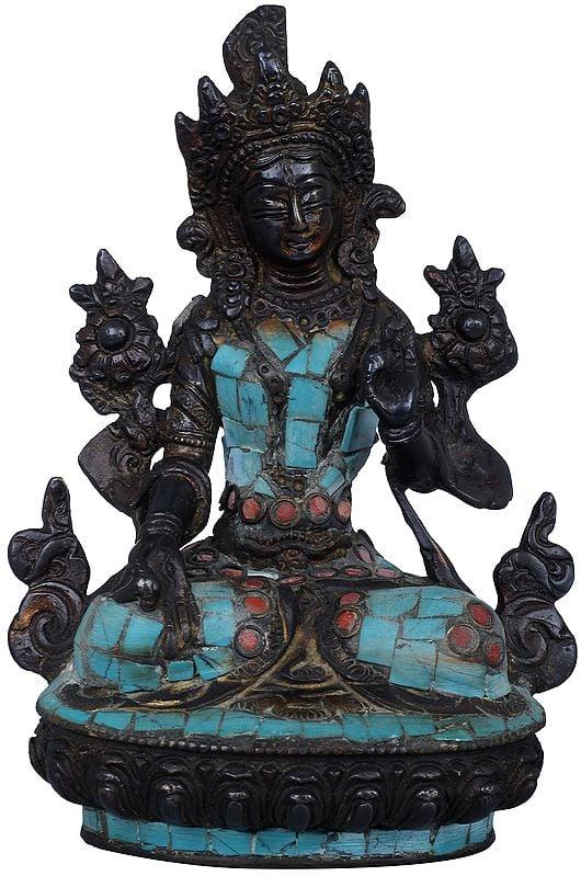 Goddess White Tara with Inlay Stone Work