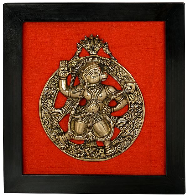 Lord Hanuman Under Serpent Hanging Plate Wall Hanging with Frame