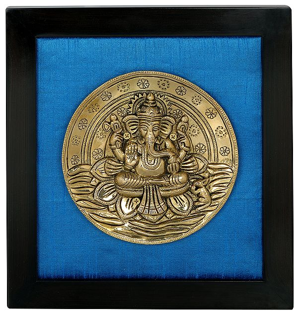 Lord Ganesha Seated on Lotus Wall Hanging with Frame