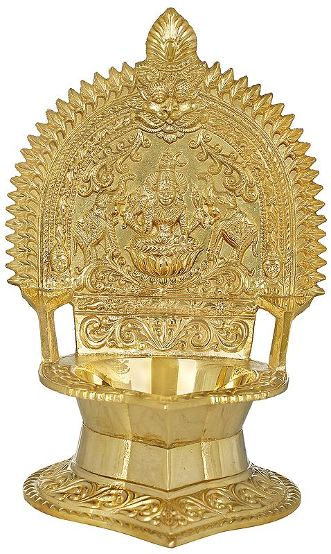 Goddess Linga Bhairavi with Two Elephants Oil Lamp