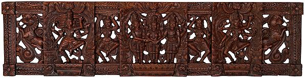 Shiva-Parvati Kalyanam with Vishnu (Wall Hanging)