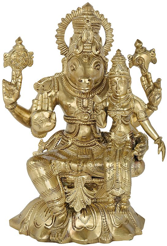 Hayagreeva Avatar of Vishnu with his Consort Lakshmi