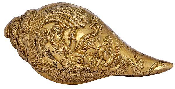 Lord Vishnu with Goddess Lakshmi Designer Conch