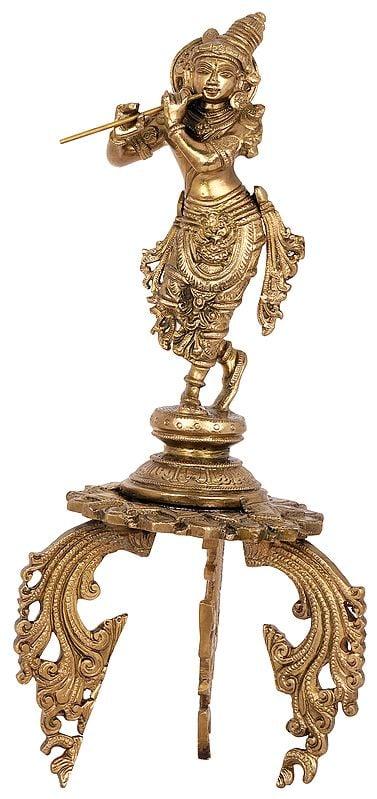 Tribhanga Murari On An Ornate Stand