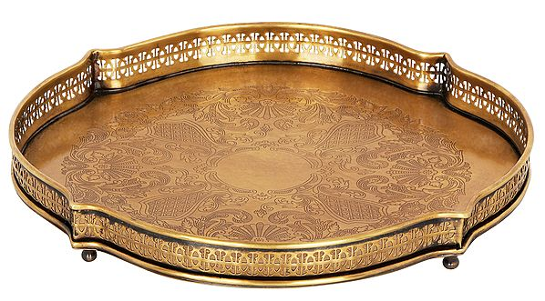 Floral Carved Traditional Brass Tray