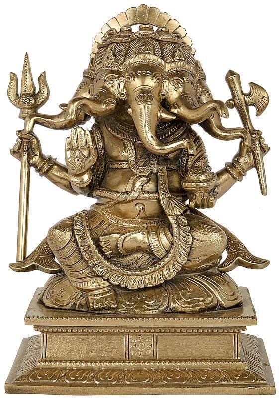 Trishool-Wielding Panchamukha Lord Ganesha