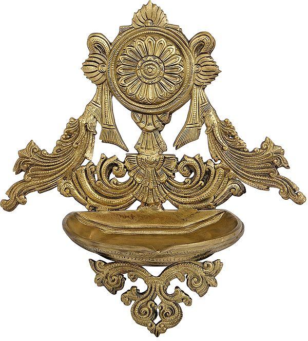 Vaishnava Chakra Decorated Puja Lamp (Hoysala Art)