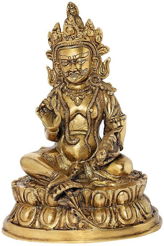 Tibetan Buddhist Kubera Seated on Lotus Pedestal