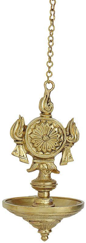 Vaishnava Chakra Hanging Puja Lamp (Hoysala Art)