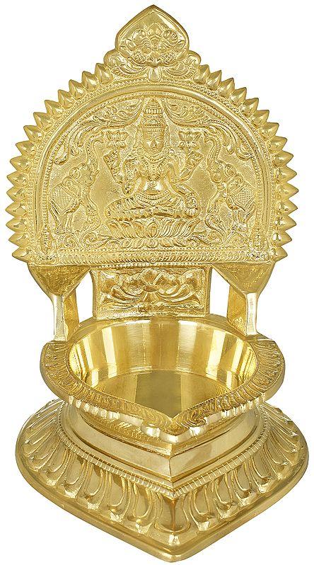 Goddess Gajalakshmi Seated on Lotus Large Oil Lamp