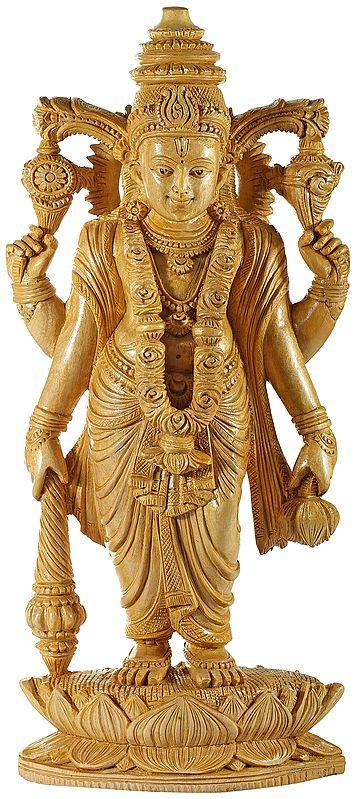 Chaturbhuja Vishnu Standing on a Boat Shaped Lotus