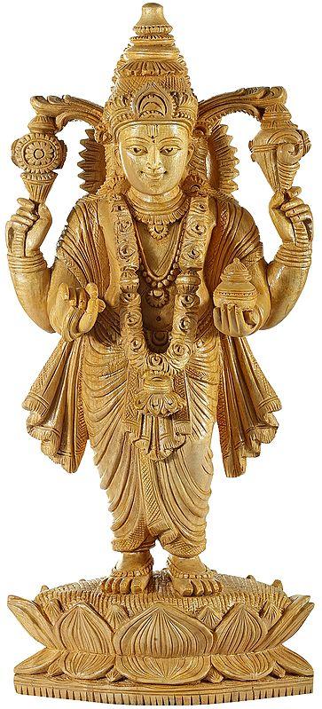 Lord Vishnu Standing on Lotus Holding a Kalash