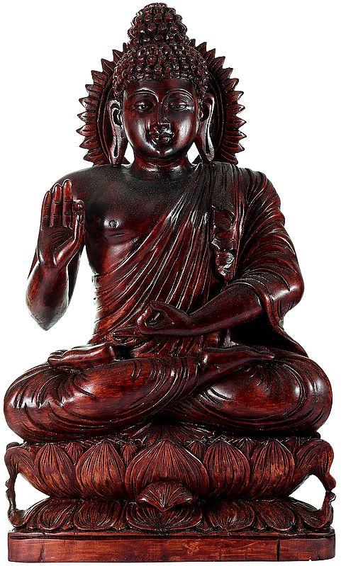 Tibetan Preaching Buddha Perched on a Lotus