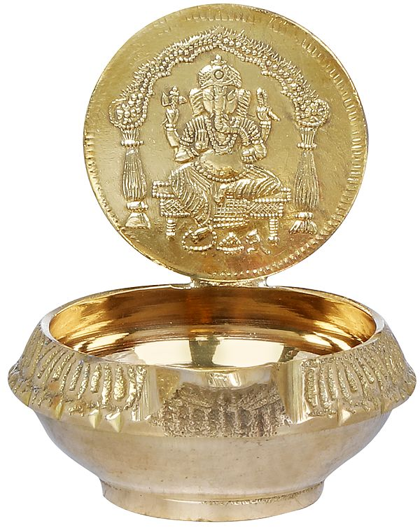 Throne Ganesha Small Puja Diya (Lamp)