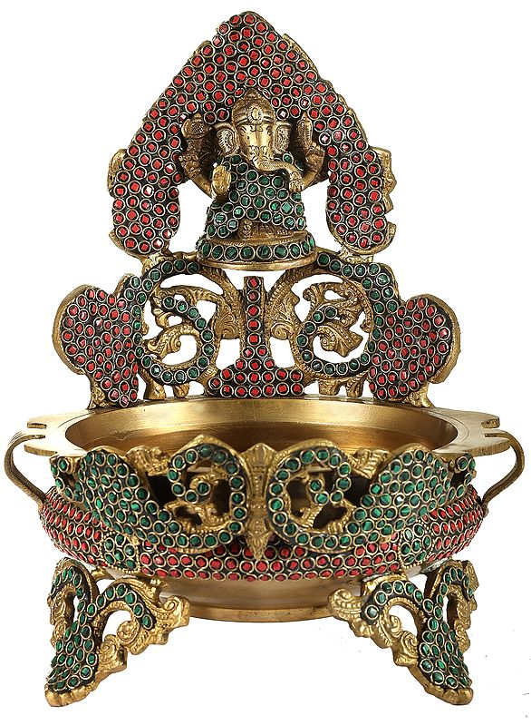 Ganesha Urli with Inlay Stone Work