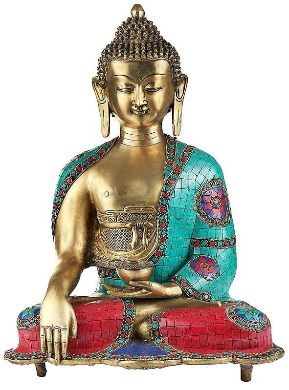 Bhumisparsha Medicine Buddha With Inlay Work
