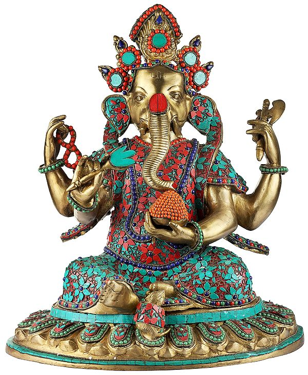 Nepalese Form of Lord Ganesha With Inlay Work