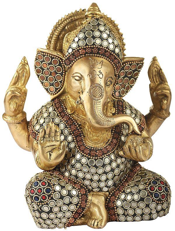 Lord Ganesha with Inlay Stone Work