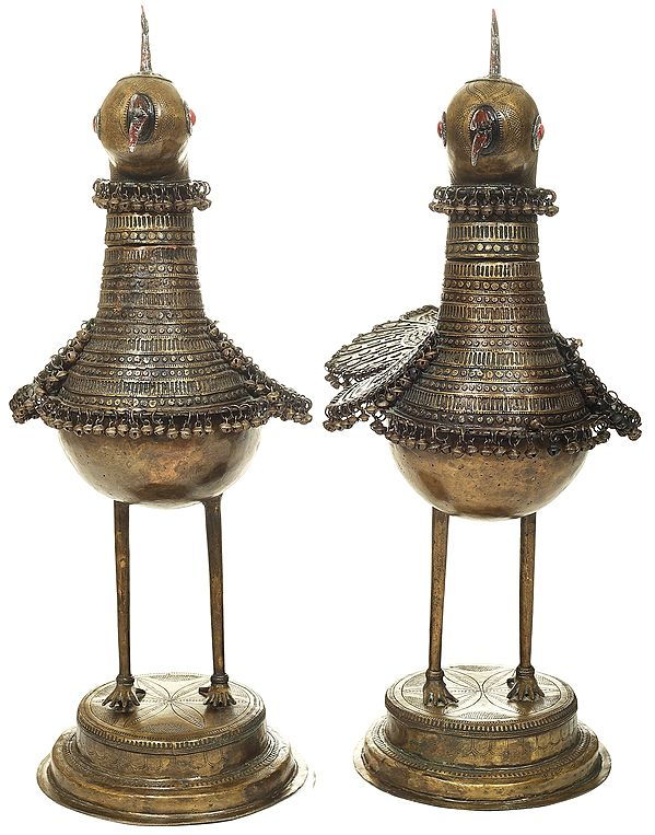 Large Standing Tribal Peacock Couple Decorated with Ghungroos