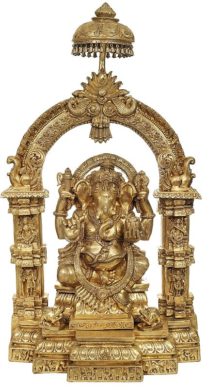 Large Lord Ganesha with a Traditional Prabhavali and Parasol Atop