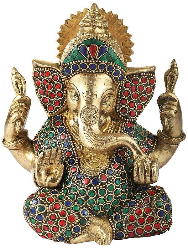 Colorful Inlayed Ganesha in Aashirwad Mudra