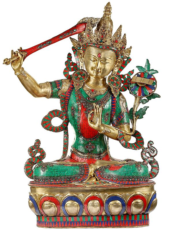 Colorful Inlayed Large Manjushri - Bodhisattva of Transcendent Wisdom