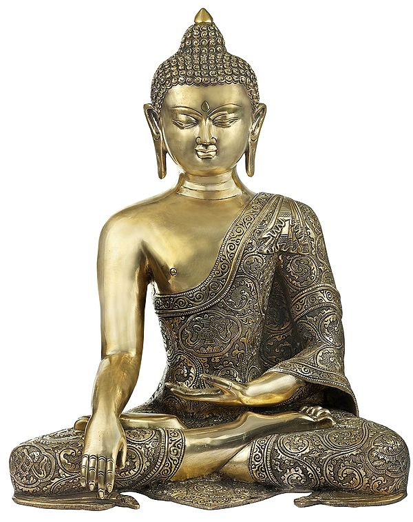 Simple Seated Buddha In Richly Engraved Robe