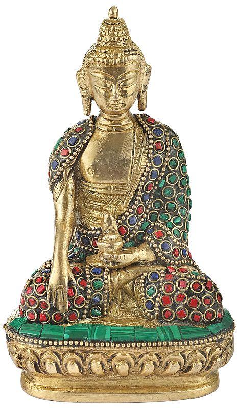 Inlayed Bhumisparsha Buddha (Small Statue)