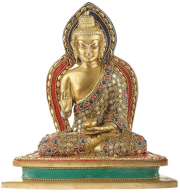 Blessing Lord Buddha With Inlay Work