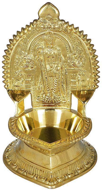 Large Murugan Lamp from South India