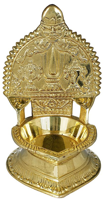 Large Lamp with Vaishnava Symbols from South India