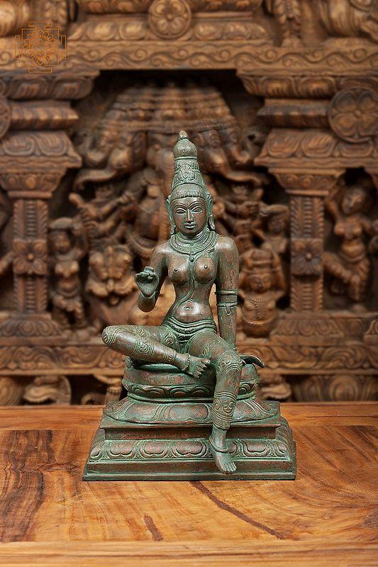 "10"" The Incomparable Devi Uma | Seated Parvati | Handmade | Brass Statue | Made In India"