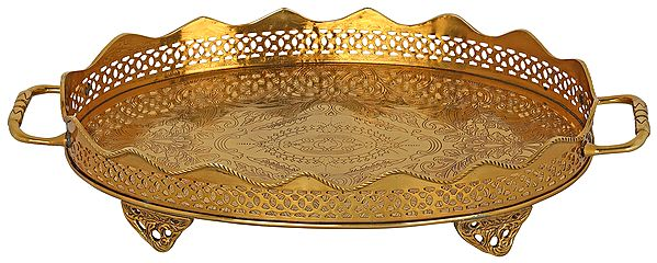 Floral Print Vented Boundary Traditional Brass Tray