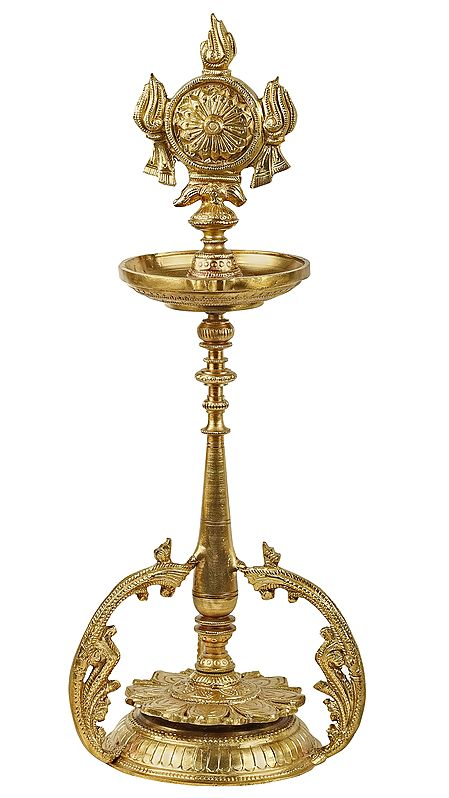 Vaishnava Wick Lamp with Vishnu's Divine Chakra (Hoysala Art)