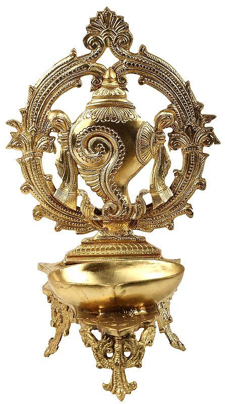 Vaishnava Conch Wick Lamp (Hoysala Art)