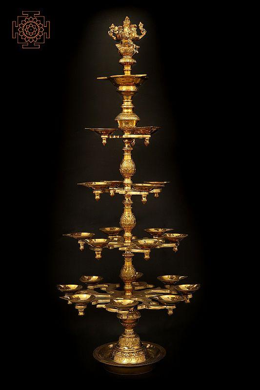 Large Superfine Lotus Carved Multiwick Ganesha Lamp