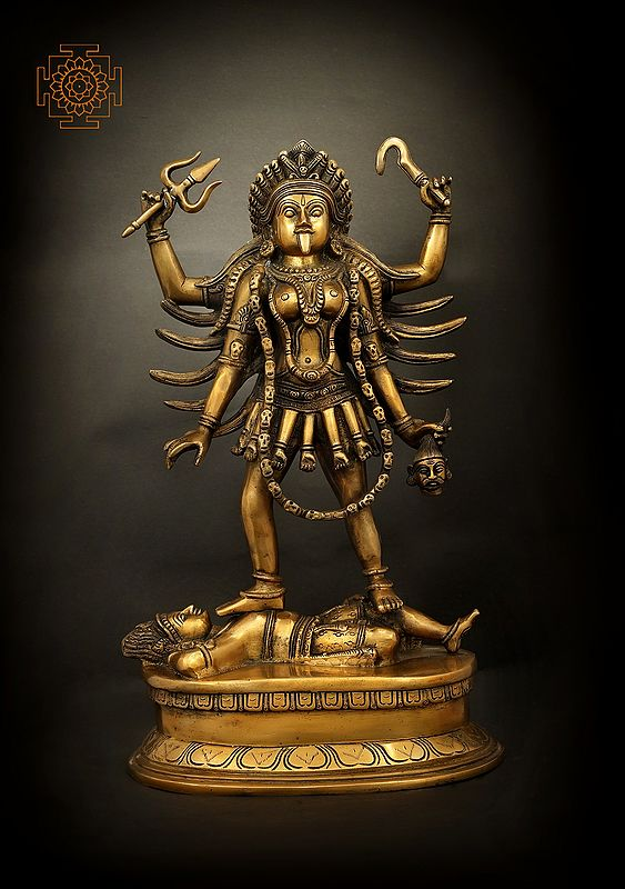 Four Armed Goddess Kali Standing On Lord Shiva