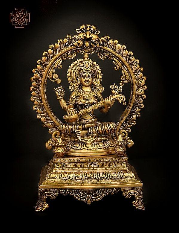 Seated Veenadhari Devi Sarasvati On A High Plinth